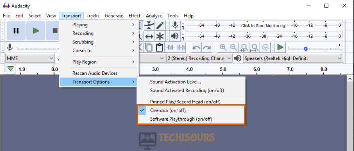 Tweak settings to resolve audacity error opening sound device