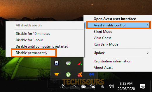 Disable antivirus permanently to resolve geforce experience not opening problem