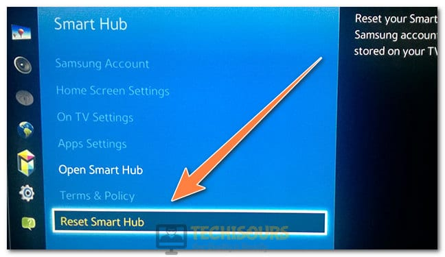 "Selecting ""Reset Smart Hub"" button to fix the unable to connect to Samsung Server"