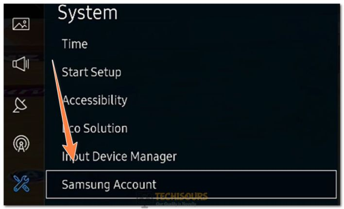 "Clicking on ""Samsung Account"" option"