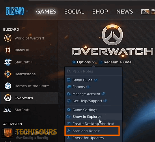Click on Scan and Repair to resolve overwatch black screen issue