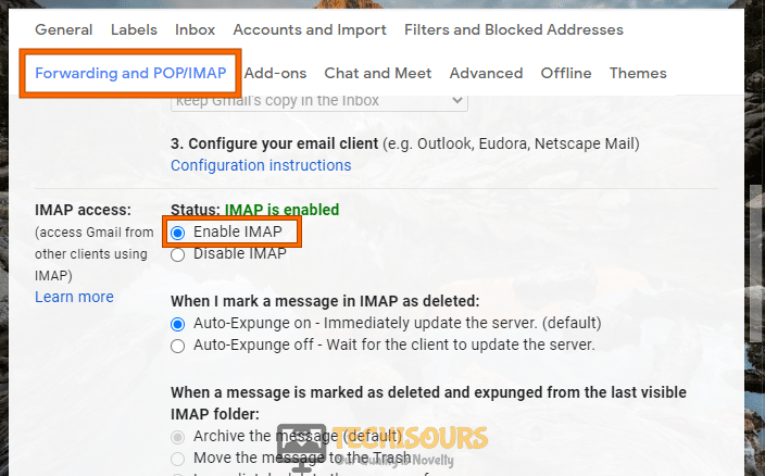 Enabling IMAP to resolve we couldn't create the outlook data file issue
