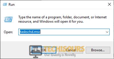 "Typing ""taskschd.msc"" to close uncserver"