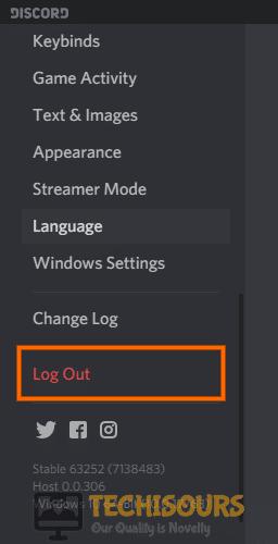 Logout of Discord