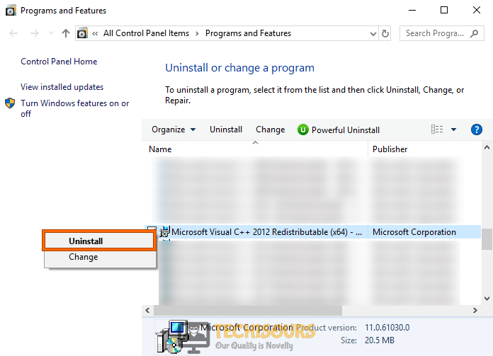 Uninstall Microsoft Visual C++