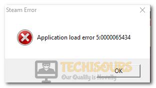 Application load error 5:0000065434 on Steam