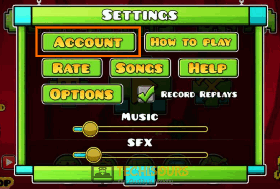 Click on Account to fix geometry dash error code 5