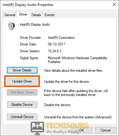 Update device driver to fix volume mixer won't open error