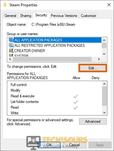 "Click on ""Edit"""