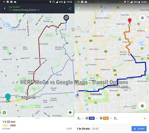 HERE WeGo vs Google Maps - Transit Options