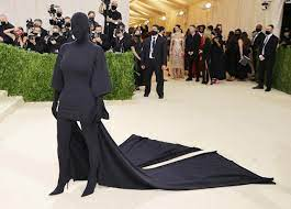 Kim Kardashian Completely Covers Her Face and Body in Black Balenciaga Outfit at 2021 Met Gala