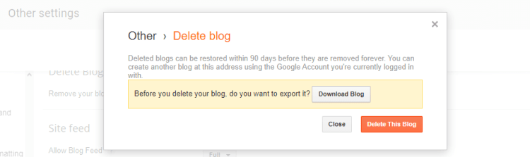 blogger blog delete