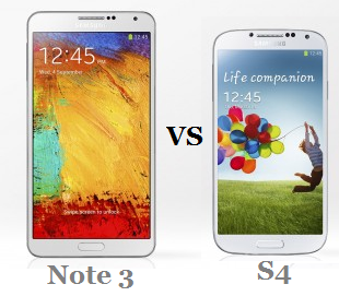 Galaxy Note 3 vs Galaxy S4