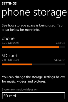 How to check Storage space in windows 8 smartphones