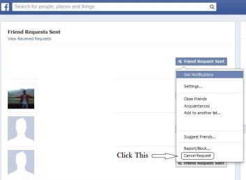 How to cancel or delete friend requests sent from facebook