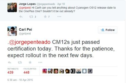 OnePlus One CM 12S update release date