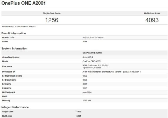 OnePlus two benchmark testing leaked