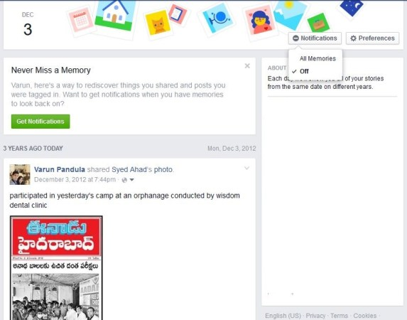 How to stop One this day notifications in facebook