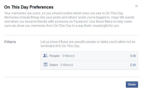 On This day feature preferences in facebook