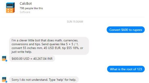 How to use Facebook messenger as Calculator