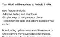 Xiaomi Mi A2 Android 9 Pie OS update