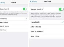 Face ID lock on WhatsApp for iPhone