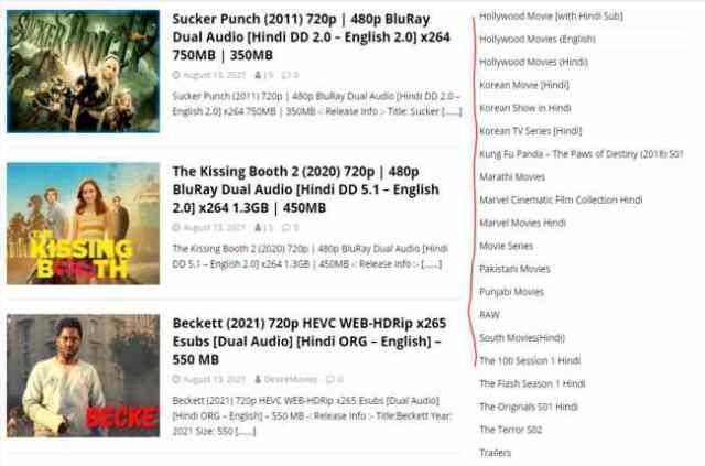 Desire movies categories