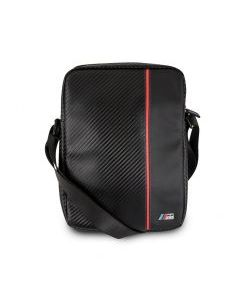 """BMW 15"""" Computer BackPack 2 Pockets Carbon PU & Red Stripe"""
