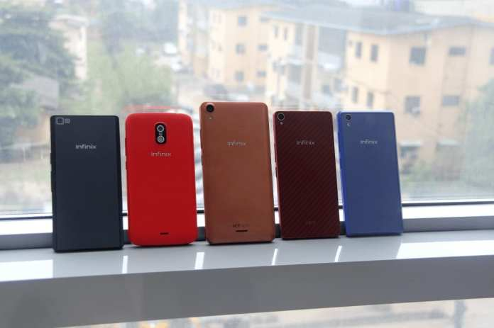 (From left to right: Infinix ZERO, HOT, HOT NOTE, ZERO2, and HOT 2 Android One)