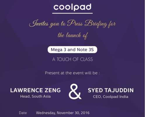 Coolpad Mega 3 Launch Invite