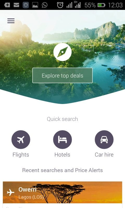 Skyscanner app review Home Page