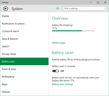 Battery saver feature