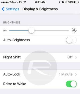 Turning off the Raise to Wake feature