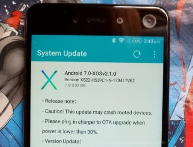 Infinix S2 Pro Android 7.0 Nougat