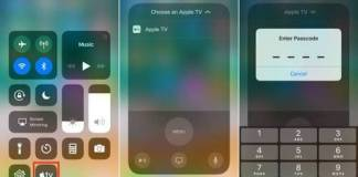 Apple TV remote from iOS 11 Control center