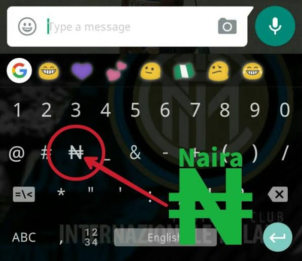 Naira Sign On Android 1