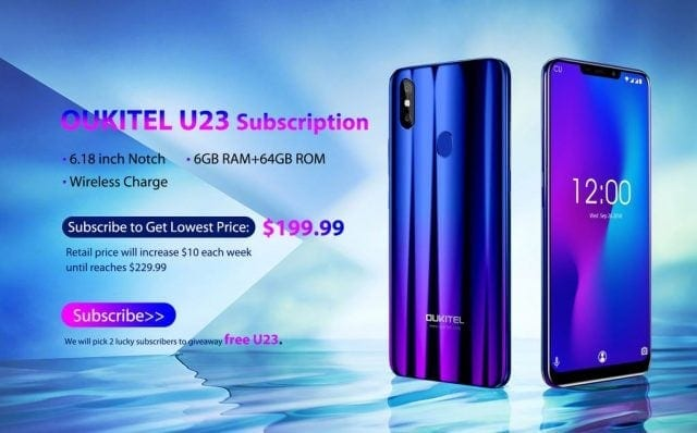 OUKITEL U23 subscribe and giveaway 640x398
