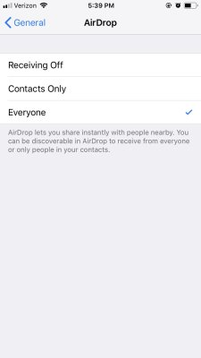 AirDrop Files iPhone