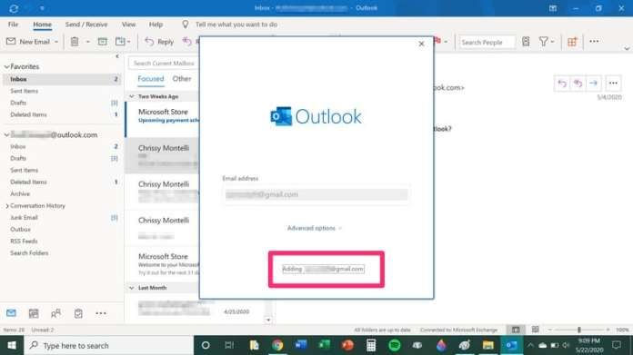 Add Gmail Account To Outlook Email Interface