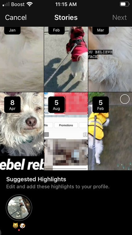 Publish Suggested Highlight Instagram Profile