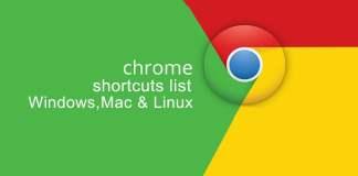 chrome shortcut lists for windows,mac,linux
