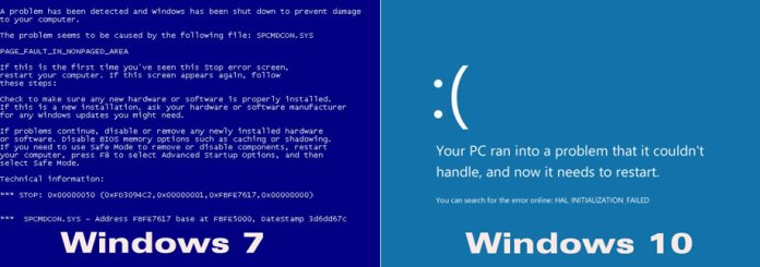 Blue Screen of Death in Windows 7 and Windows 10
