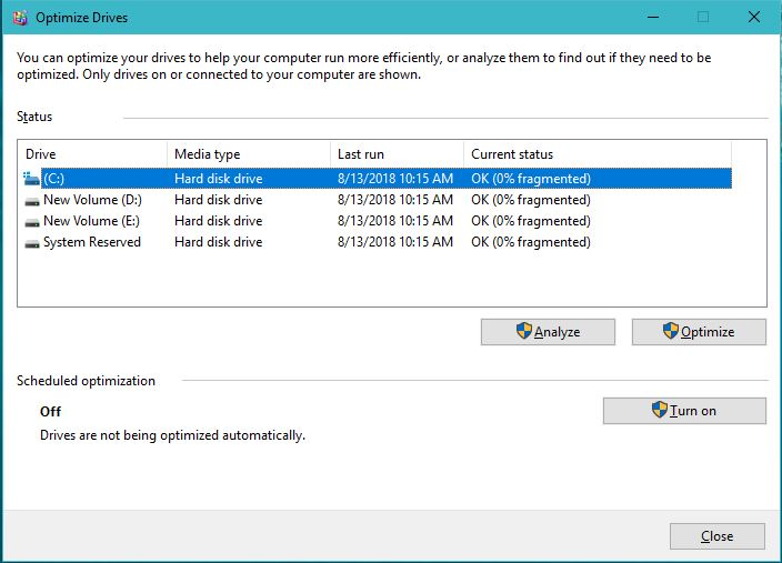 Disk Defragment Utility Speedup Windows Laptop