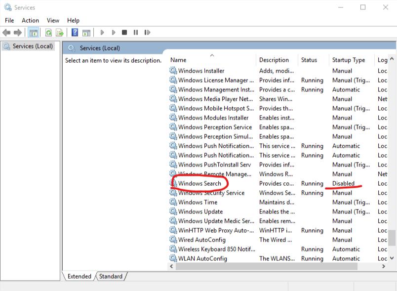 Microsoft Windows OS Services Windows Search