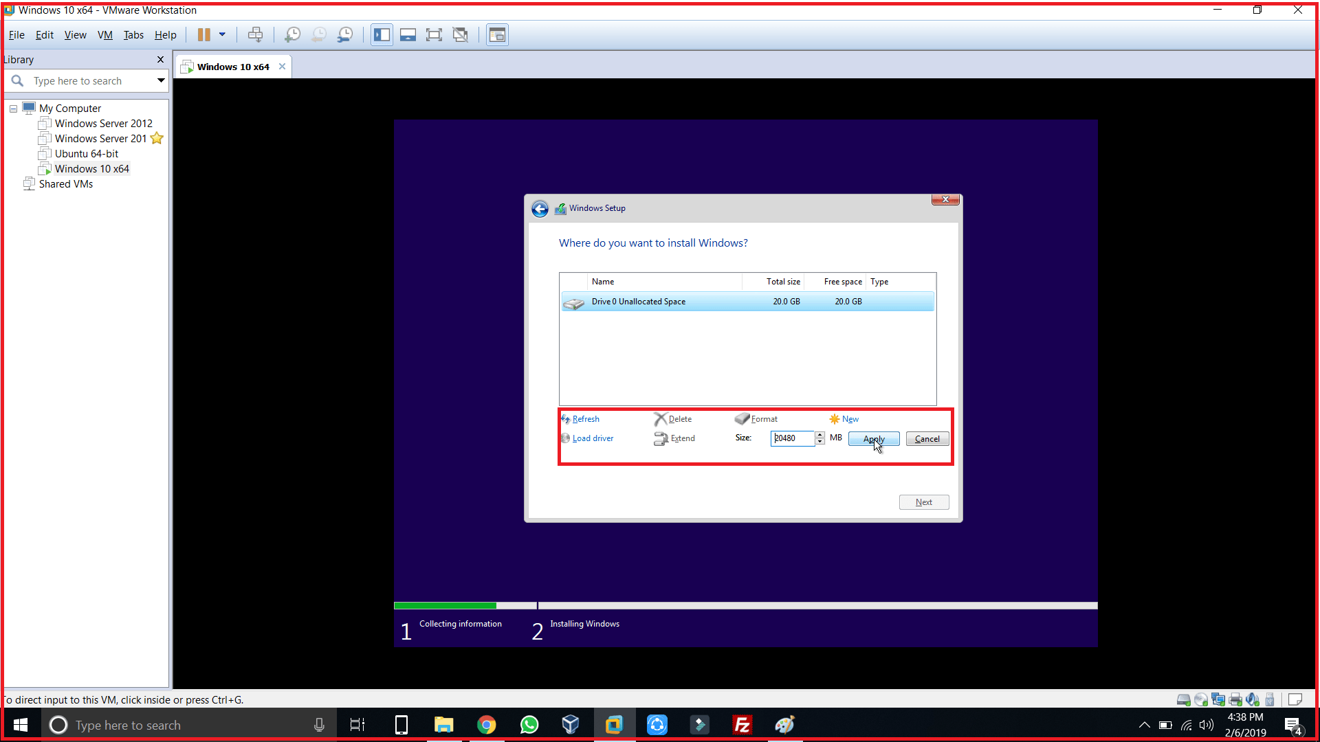 select disk for where you want to install windows