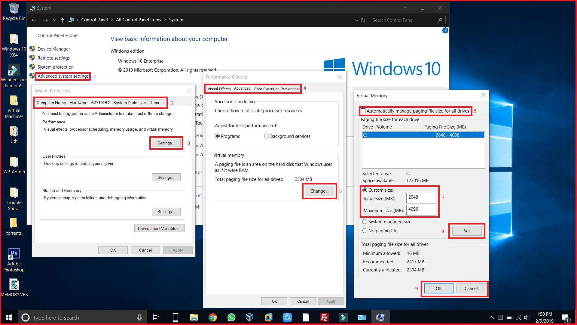 Adjust Virtual Memory in windows 10