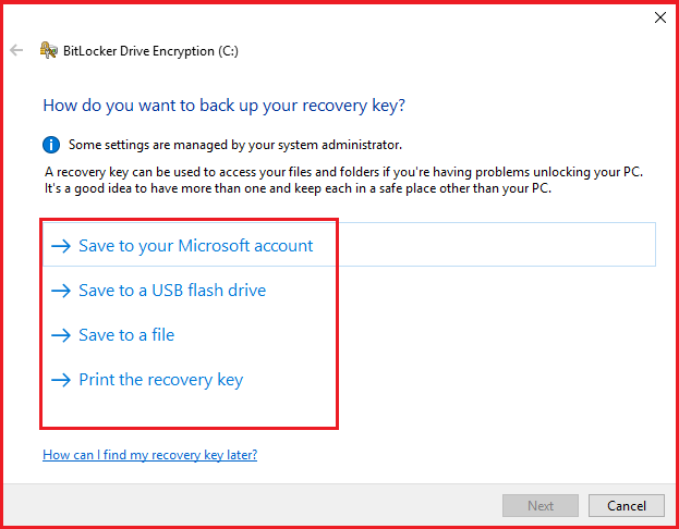 How do you want to back up your recovery key