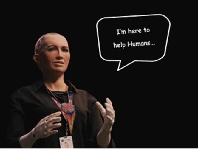 I'm here to help humanity to create the future – Sophia (an AI powered humanoid robot).