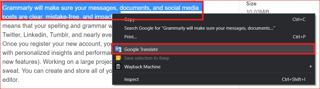 Google Translate extension for chrome