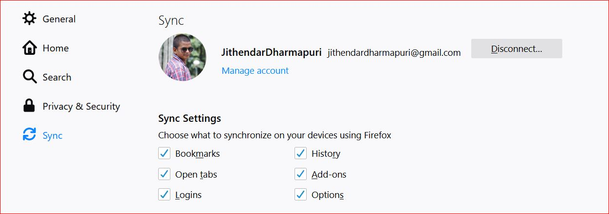 Mozilla firefox sync setting: Choose what to sync on from your device to firefox.